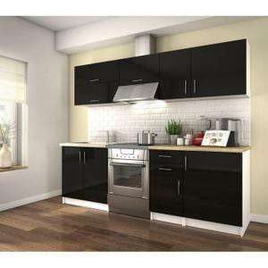 cuisine compl te obi 2 4m noir laqu. Black Bedroom Furniture Sets. Home Design Ideas