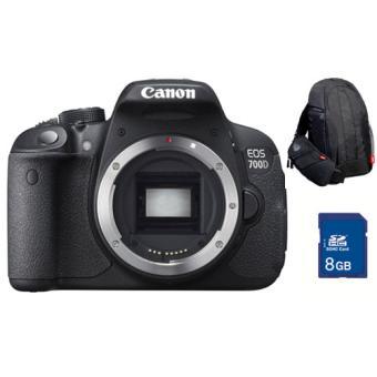 Pack reflex Canon EOS 700D Boîtier Nu + Sac à dos + Carte SDHC 8 Go