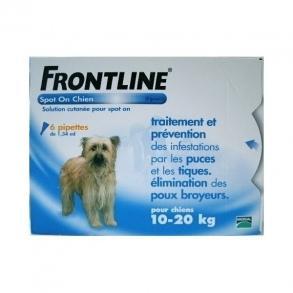 Soin antiparasitaire Frontline Spot-On pour chien de 10-20 kg - 6 pipettes