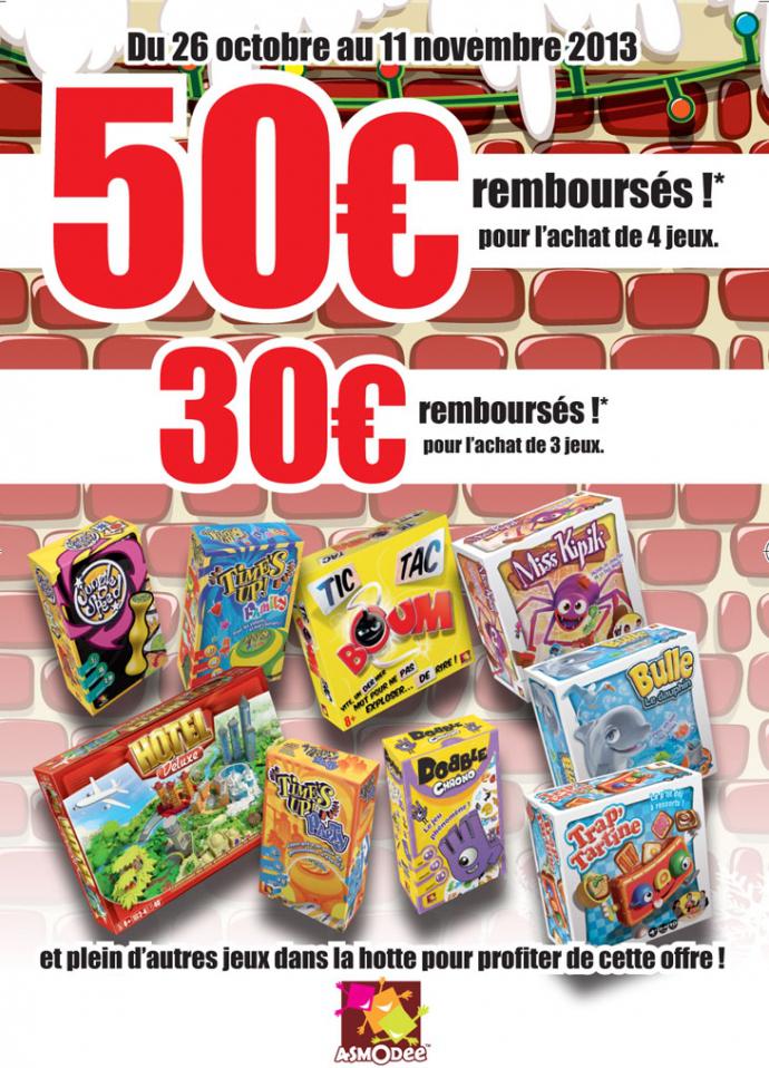 50€ remboursés pour l'achat de 4 jeux Asmodee (ou 30€ pour 3)