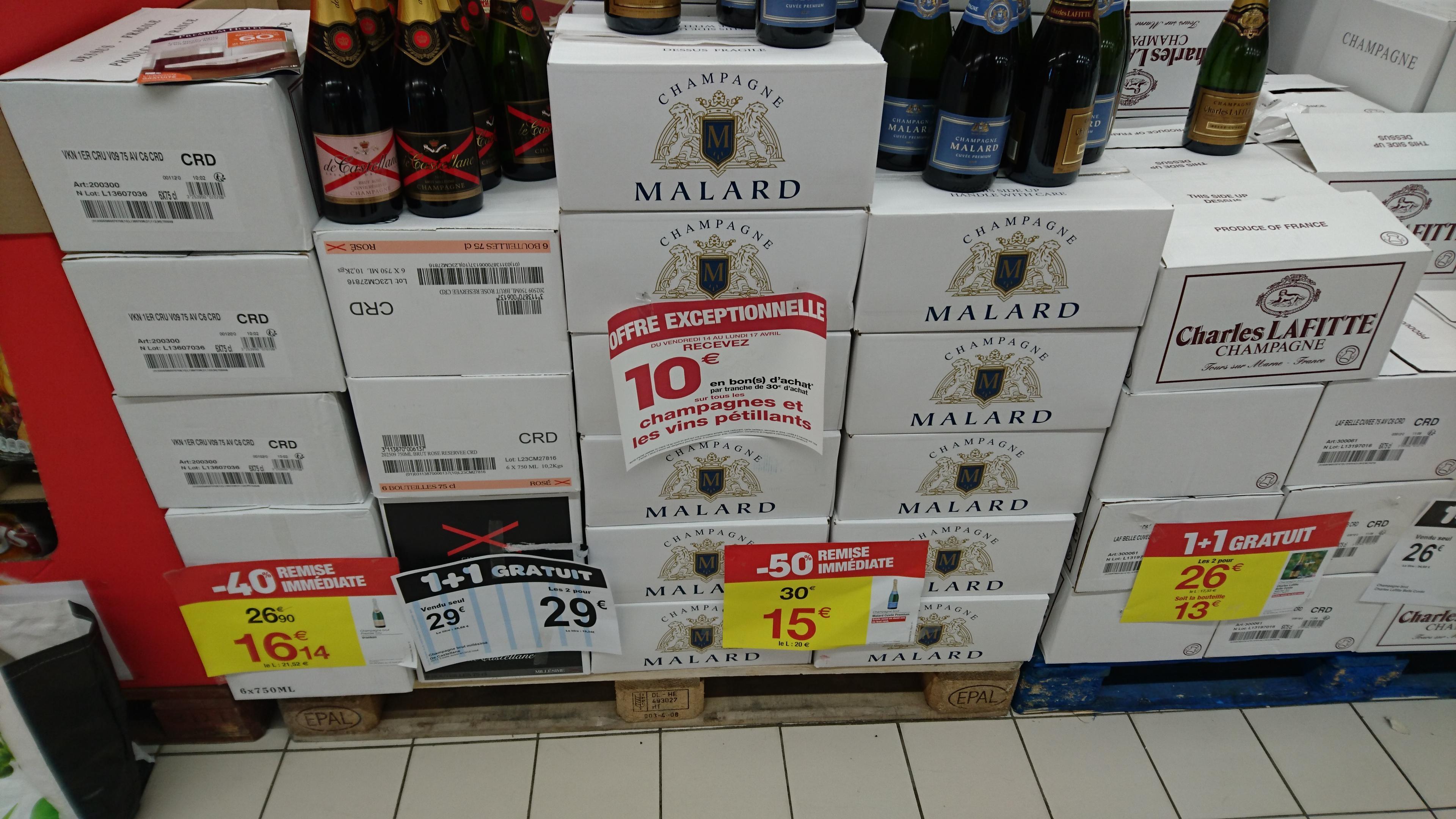 Bouteille de champagne Malard Cuvée Premium (via 10€ en bon d'achat)