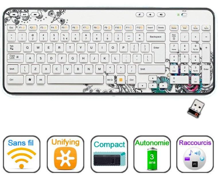 Logitech clavier sans fil - K360 Floral Black