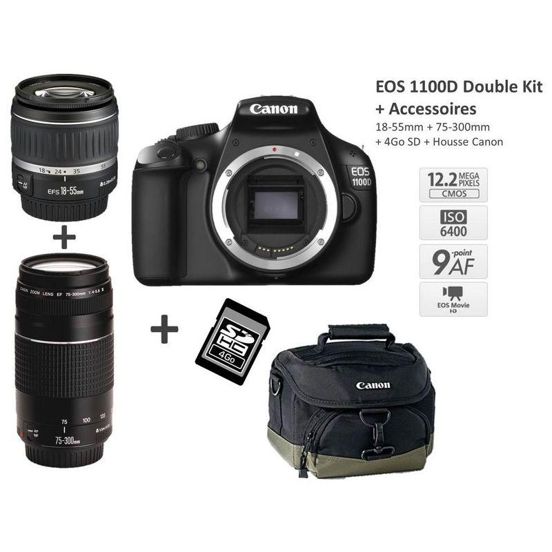 Reflex Canon EOS 1100D + 18-55mm + 75-300mm + Carte 4Go + Fourre-tout Canon