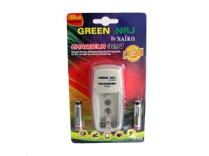 Chargeur de piles 3 en 1 et 2 piles rechargeables AA 1800MAh
