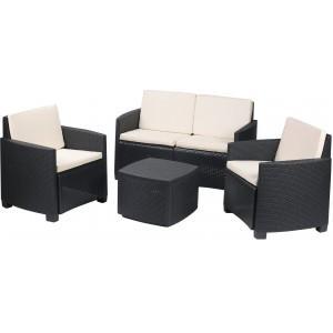 Salon de jardin Etna 1 Canapé + 2 fauteuils + 1 table/coffre ...