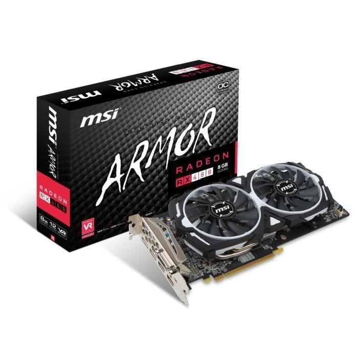 Carte graphique MSI AMD Radeon RX 480 Armor OC - 8 Go, GDDR5
