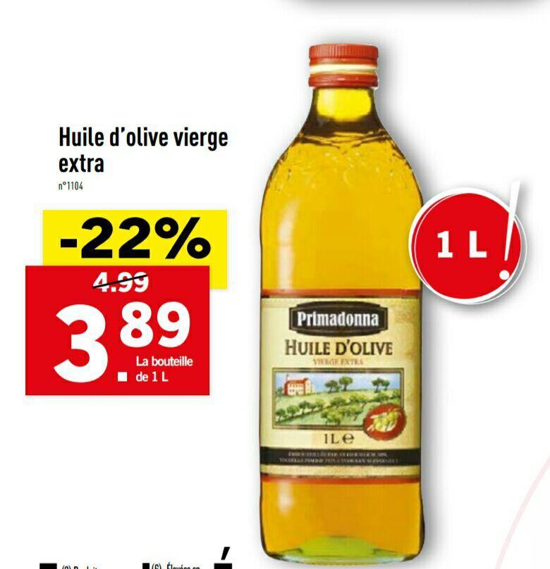 Bouteille d'huile d'olive extra vierge Primadonna - 1L