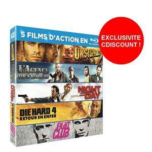 Coffret 5 Blu-Ray Unstoppable + L'Agence Tous Risques + Fight Club + Die Hard 4 +  Night And Day