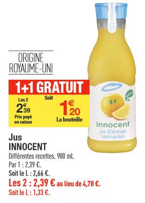 2 jus de fruits Innocent (Avec Shopmium)