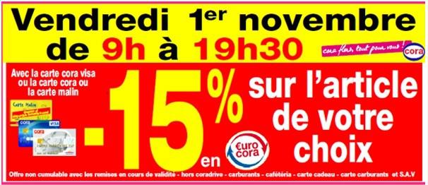 -15% en €urosCora sur l'article de son choix avec les 3 cartes Cora