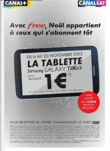 """Tablette Samsung Galaxy Tab 3 7"""" 8 Go offerte pour tout nouvel abonnement à Canal+  ET à Canalsat"""