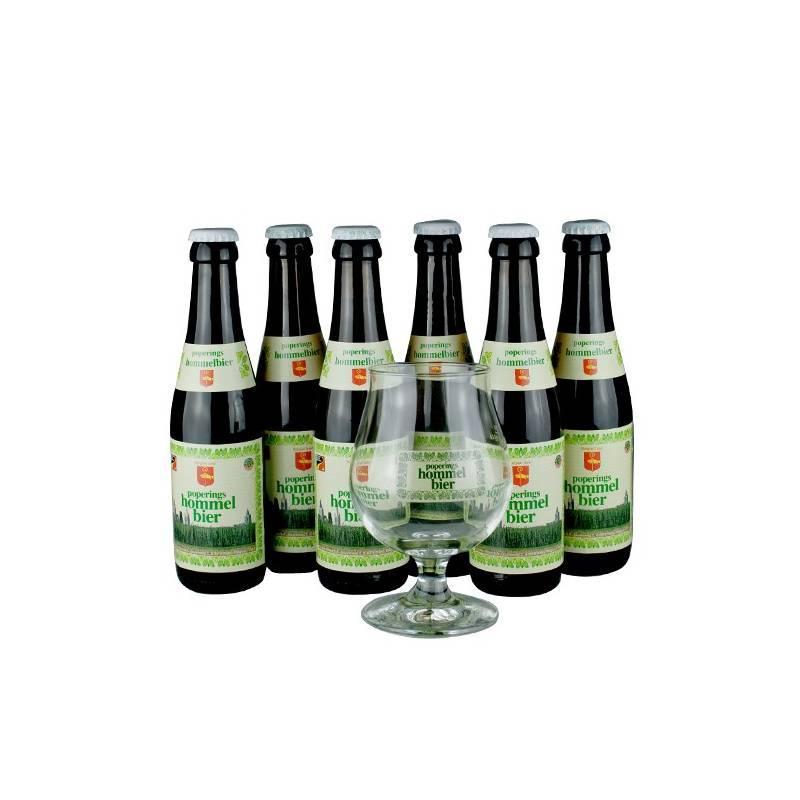 Lot de 6 bières Hommelbier Poperings 25 cl + 1 verre