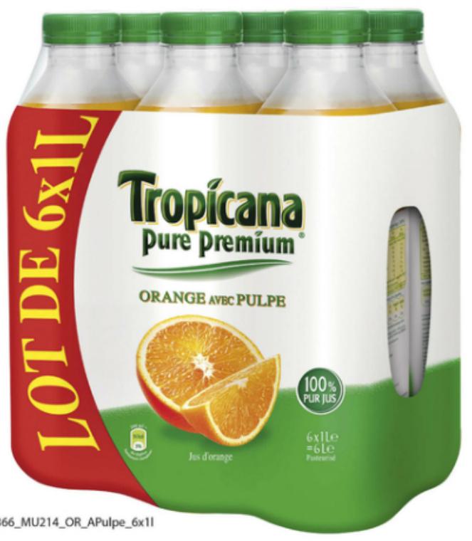 2 Pack de 6 bouteilles de Tropicana Pure Premium