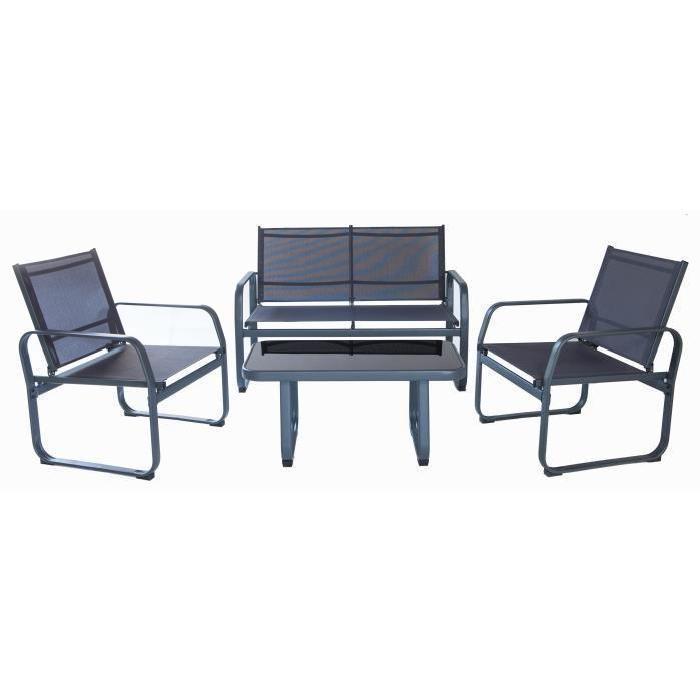 Salon de jardin Lychee : 1 table basse + 2 fauteuils et 1 canapé en ...