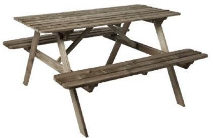 Table de Pique-nique  en Bois pour 4 personnes - 140 x 19 x 70cm