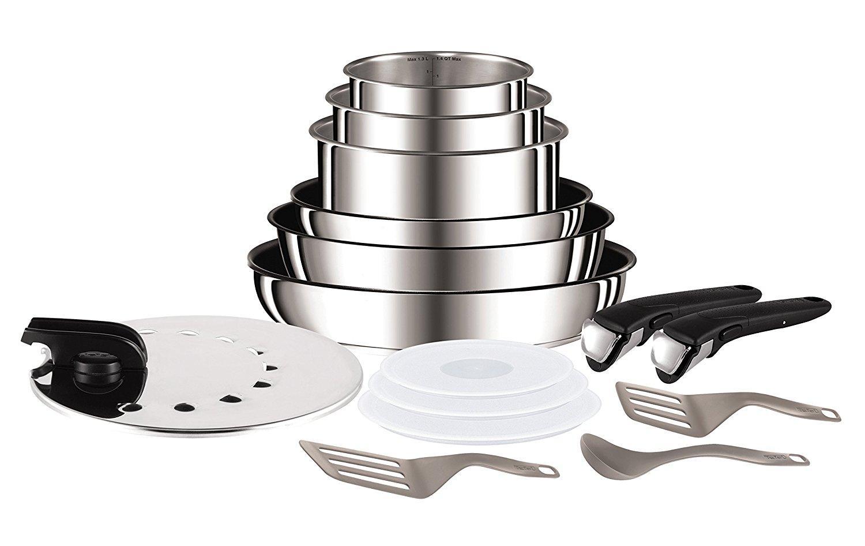 Set de poêles et casseroles Tefal Ingenio Inox - Lot de 15 pièces (Tous feux dont induction)