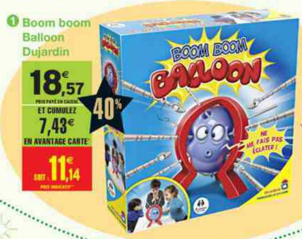 Jeu boom boom balloon (Avec ODR 10€ et 40% sur carte)