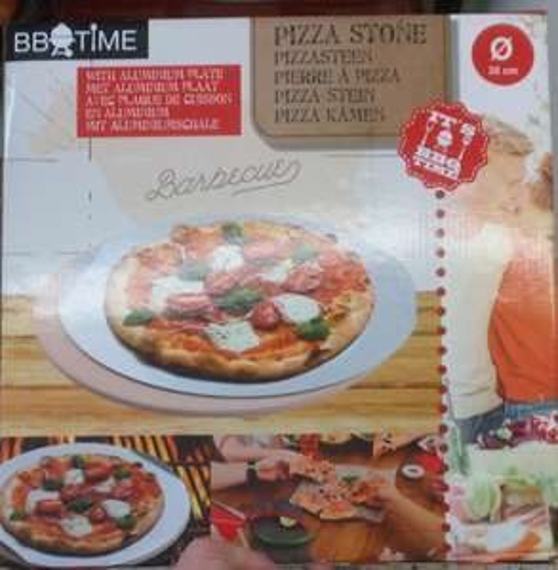 Pierre pizza + plaque alu 35cm