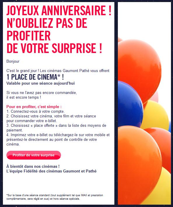 Entrée gratuite dans les cinéma Gaumont Pathé le jour de votre anniversaire