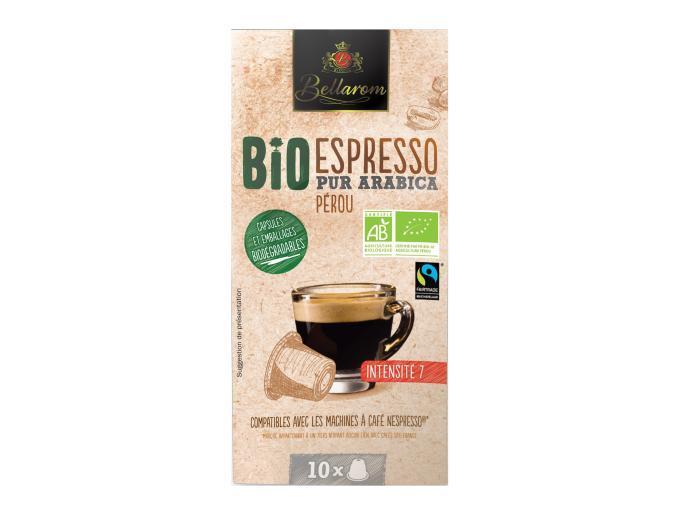 10 capsules espresso Bio, pur Arabica du Pérou
