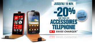 -20% sur les accessoires smartphone Swiss Charger (Ex : Etui Flip pour Galaxy Note 2 à 1.52€)