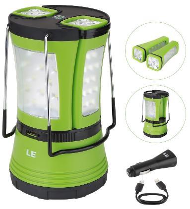 Sélection de produits en Promo - Ex: Lanterne LED de Camping Rechargeable USB avec 2 mini-lampes + Chargeur de voiture
