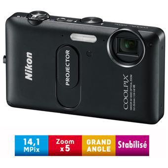 Appareil photo Nikon Coolpix S1200pj Noir Obscur - Projecteur intégré