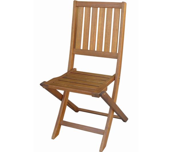 Lot 4 chaises jardin pliantes acacia / port inclus