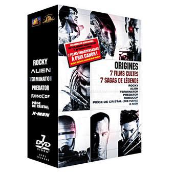 Coffret Origines DVD / 7 Films cultes Rocky - Piège de Cristal - Terminator - Alien, le 8ème passager - Predator - Robocop - X-Men
