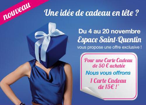 Une carte cadeau de 50€ achetée = une carte de 15€ offerte