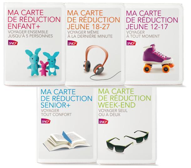 Cartes de réduction SNCF (Jeune, Week-end, Senior+ ou Enfant+)