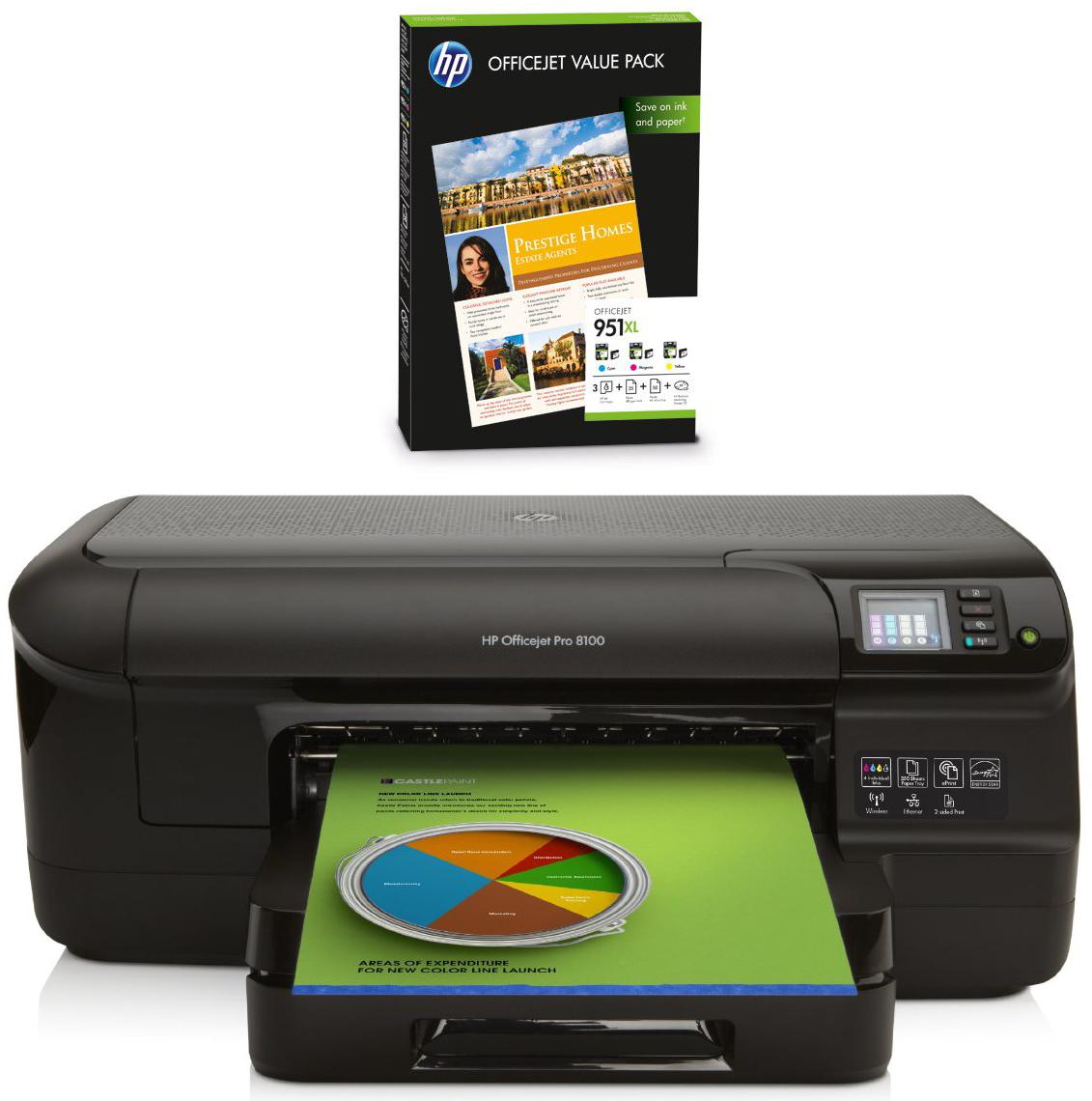 Imprimante jet d'encre Recto-Verso HP Officejet Pro 8100 Wifi + Pack de 3 cartouches XL + papier (avec ODR 80€)