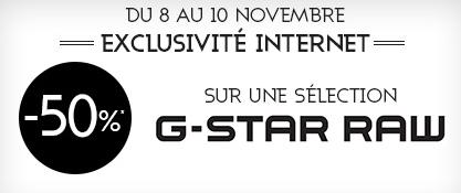 -50% sur une sélection de vêtements G-Star Homme et Femme + -10% supplémentaires