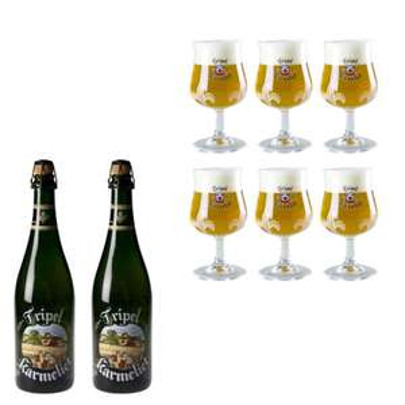 Lot de 2 bières Tripel Karmeliet (75 cl) + 6 verres