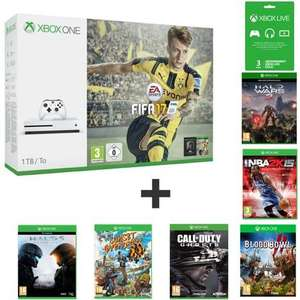 Console Microsoft Xbox One S - 1 To + FIFA 17 + 3 mois Xbox Live + Halo Wars 2 + Halo 5 + Sunset Overdrive + Blood Bowl 2 + NBA 2K15 + Call Of Duty Ghosts