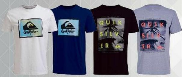 Sélection de tee-shirts Quiksilver Outer Reef ou Ruling (du S au XXL)