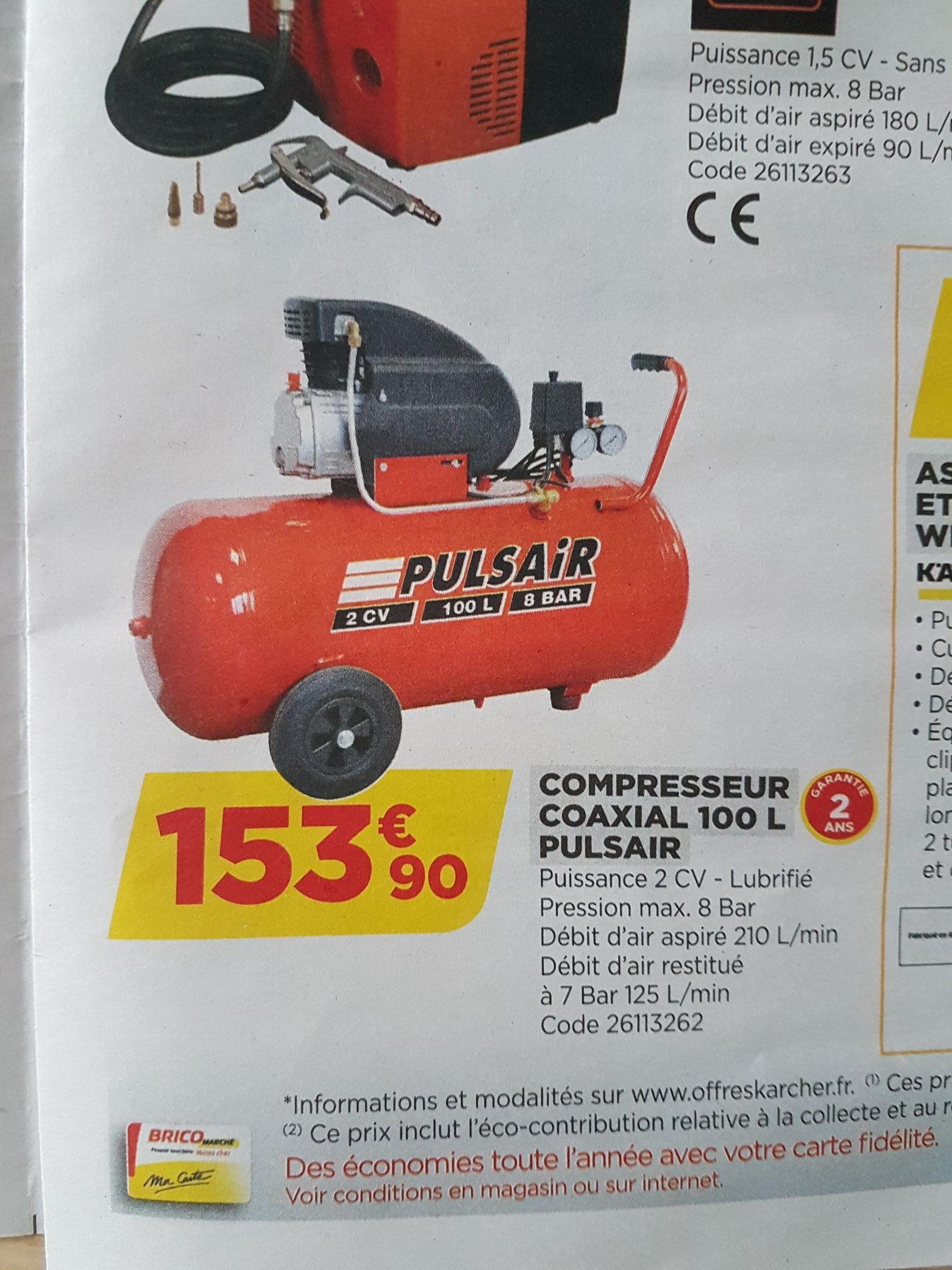 Compresseur Coaxial Pulsair - 100l