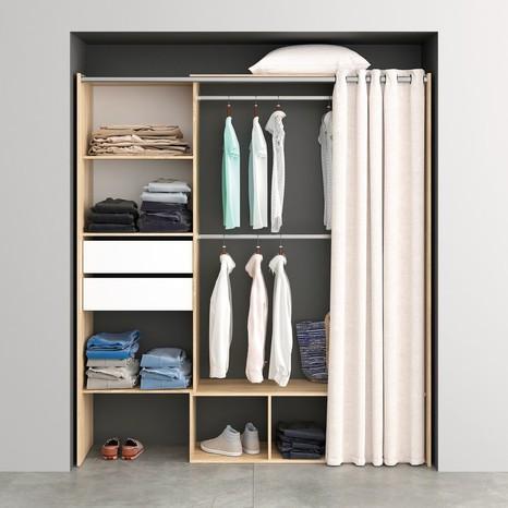 dressing d cor ch ne clair avec rideau h 200 x l 180 cm x p 48 cm. Black Bedroom Furniture Sets. Home Design Ideas