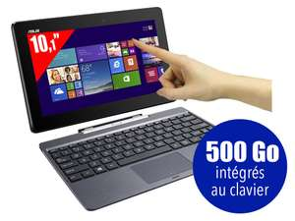 Asus Transformer T100 32 Go (SSD) + Clavier avec disque dur 500 Go intégré + Office 2013