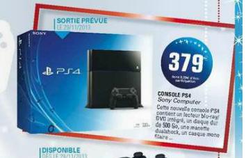 Console Sony Playstation 4 (Jeux à 54,90€)
