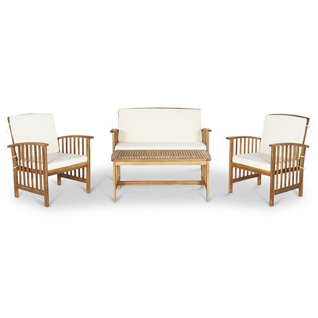 Salon de jardin Kiwi en bois avec 1 table + 1 canapé + 2 fauteuils ...