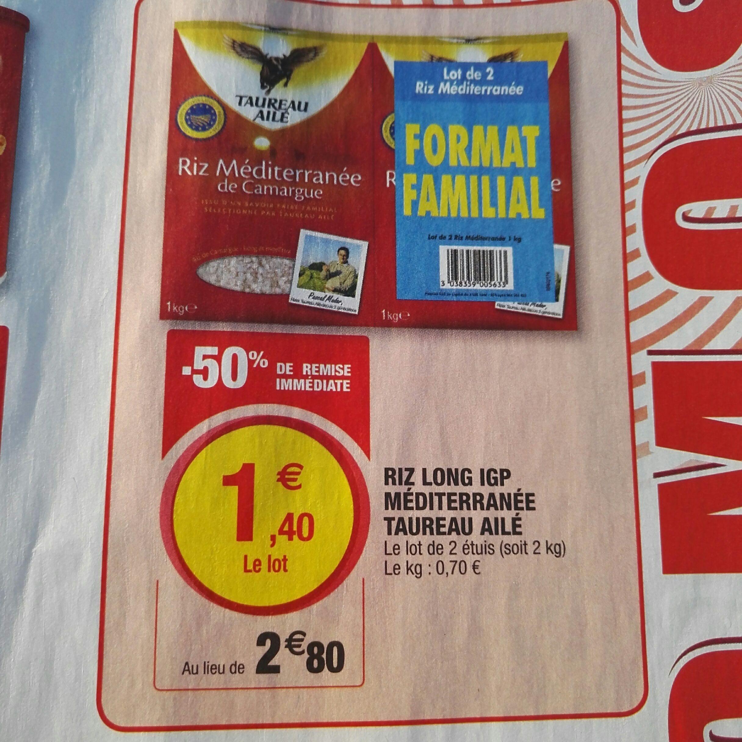 Lot de 2 paquets de riz long Méditerranée de Camargue Taureau Ailé - 2x1kg