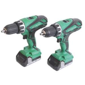 Perceuse visseuse/à percussion Hitachi KC18DGL/JB 18V 1.5Ah Li-Ion Cordless Combi Drill Driver twin pack