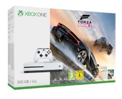 Console Microsoft Xbox One S blanche 500 Go + jeu Forza Horizon 3 ou Fifa17 ou Battlefield 1 (via 120€ fidélité)