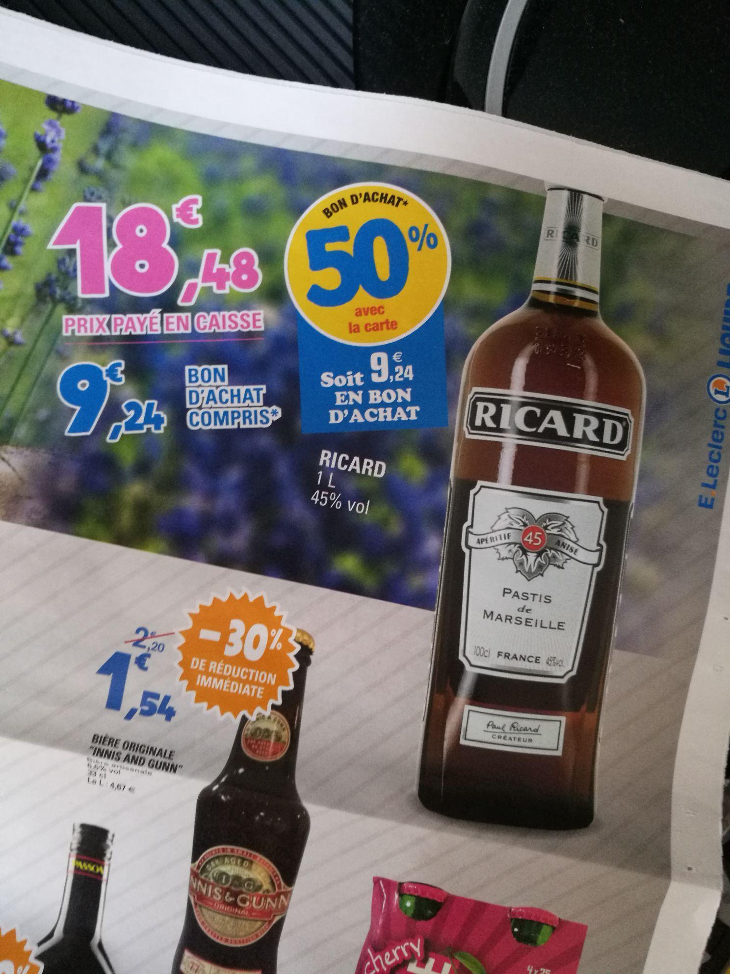 Bouteille de pastis Ricard 1L (via 9.24€ ticket Leclerc)