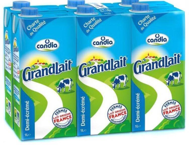 Pack de Lait candia 1/2 écrémé - 6 x 1L