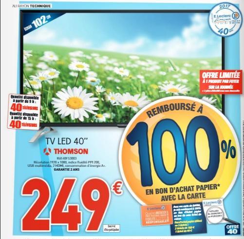 """40 Produits remboursés à 100% en bon d'achat - Ex : TV LED 40"""" Thomson à 249€"""