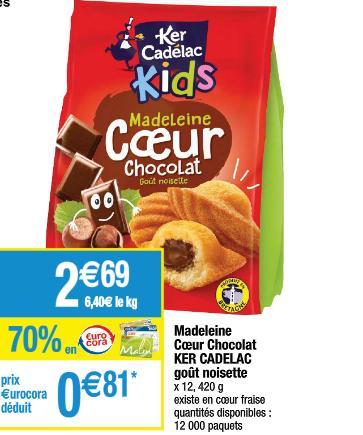 Paquet de Madeleines Cœur Ker Cadélac - 420g gratuit (via BDR)