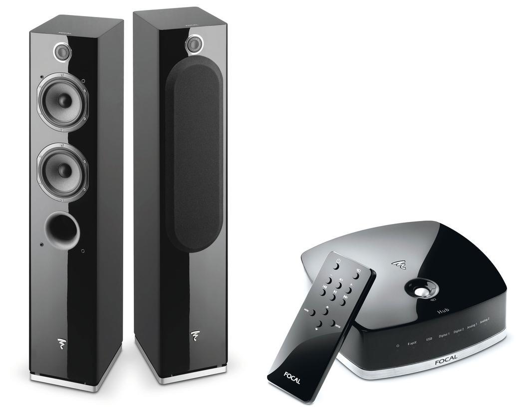 Pack de 2 enceintes colonnes amplifiées Focal Easya Bluetooth + Hub - Noir