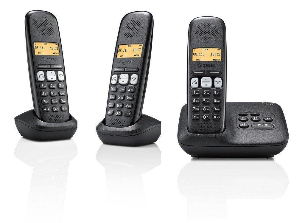 Lot de 3 téléphones sans-fil Dect/Gap Gigaset A250A Trio Noir avec Répondeur (via ODR 12€)